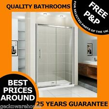 Bathroom Sliding Shower Door Enclosure Screen Cubicle and Stone Tray