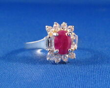 Dazzling Faceted Genuine Ruby & White Topaz Silver Ring    RR3
