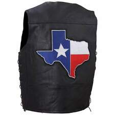 Men's Leather Motorcycle Vest w/Texas Patch  NEW!!!