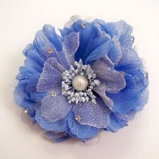 BEADED ANEMONE FASHION FABRIC FLOWER HAIR CLIP/PIN BROOCH, VARIOUS COLORS