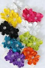 WHOLESALE baby girls GERBER daisy flower rhinestone HAIR BOW clip pin up
