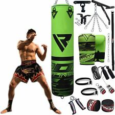 Auth RDX Leather Gel Boxing Gloves Fight,Punch Bag MMA Muay Thai Grappling Pad H