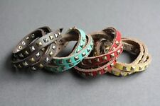 NEW Genuine Leather Stud Wrap Surfer Bracelet Wristband Vintage Cuff Band Buckle
