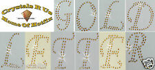 2.5inch LETTER GOLD IRON-ON RHINESTONE DIY CRAFT CUSTOMIZE TSHIRT TRANSFER PATCH