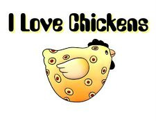 Custom Made T Shirt I Love Chickens Cute Chicken Whimsical Funny Sweet NWOT