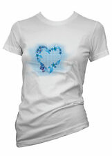 Ladies Funny tshirt Blue Love Heart With Butterfly T shirt Colours & Sizes