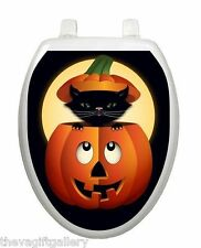 Peek-a-boo Kitty Toilet Tattoo, Elegant, Decor, Restroom, Appliqué Cover Pumpkin