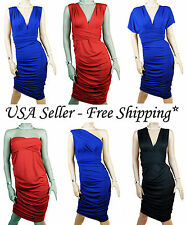 Multi-way Convertible V Neck One Shoulder Ruched Cocktail Evening Sexy VS Dress