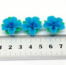 Free Shipping 10pcs Fimo 5 Petal Flower Polymer Clay Spacer Bead DIY Craft