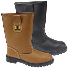 MENS LEATHER RIGGER BOOTS LEATHER WORK SAFETY SHOES BOOTS STEEL TOE CAPS RRP £49