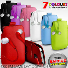 LEATHER PULL TAB POUCH SKIN CASE COVER+EARBUD EARPHONE FOR VARIOUS HTC PHONES