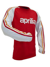 APRILIA RACING MENS SHIRT LONG SLEEVE APPAREL AUTHENTIC GEAR RED / WHITE