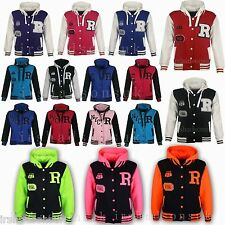 NEW KIDS GIRLS BOYS BASEBALL HOODED JACKET HOODIE R FASHION FOX 61 SIZE 7-13YEAR