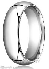 14K White Gold Wedding Band Ring 7mm S9-9.75 Comfort Fit 1.5mm Thick Round