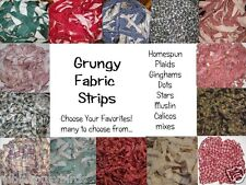 GruBBy GruNgy Homespun Primitive Aged  Plaid Gingham Dots & Muslin Fabric Strips