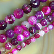 "Faceted Magenta Striated Agate Round Beads 15"" 6,8,10,12mm Pick Size"