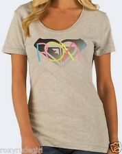 ROXY Retro Neon Logo T Shirt Heart Top Heather Grey Womens Heart Camiseta S XS