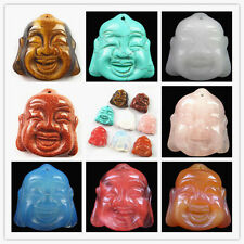 XJ-050 Wholesale Carved Mixed Gemstone Buddha's Head Pendant Bead 1 pcs or 8 pcs