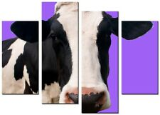 CANVAS WALL ART LARGE QUALITY ABSTRACT PRINTS CONTEMPORARY DIGITAL COW 3 PURPLE