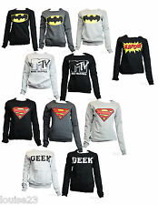 F39 LADIES RETRO COMIC BATMAN SUPERMAN WOMENS LONG SLEEVE GYM TOP SWEATSHIRT WOW