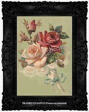1889 Pale Pink & Red Rose Bouquet Nosegay Lace Ribbon French  Vintage ART PRINT