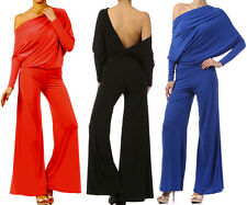 MULTI WAY Reversible PLUNGING Convertible JUMPSUIT Off One Shoulder Halter