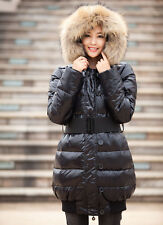 New Sexy Women Thick Winter Warm Fur Collar Down Cotton Long Hood Jacket Coat-C