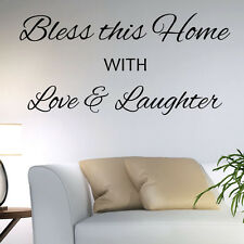 Livingroom Wall Sticker Quote - Bless this Home Love Laughter - Family Decal Art