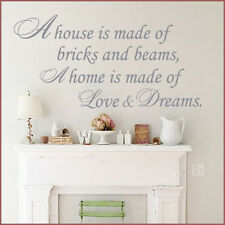 **A HOME IS MADE OF BRICKS AND BEAMS FAMILY HOME   - Wall Quote Sticker / Decal