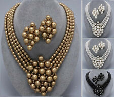 Pearl Multi Strand Layered Bead Evening Chunky Wedding Necklace Earrings Bridal