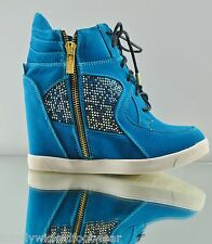Craze Blue High Top Fashion Wedge Sneaker Gold Zipper Jeweled 6 - 10  Comfort