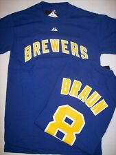 Milwaukee Brewers Ryan Braun Royal Majestic Block Letters Player T-Shirt