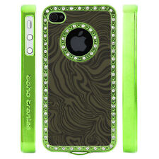 Apple iPhone 4 4S Gem Crystal Rhinestone Green Swirl Leather case