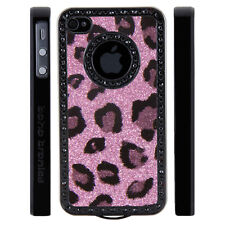 Apple iPhone 4 4S Gem Crystal Rhinestone Light Pink Leopard Glitter Plastic case