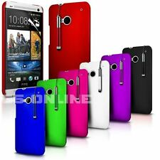 Hard Back Skin Case Cover, Film & Retractable Stylus Pen For HTC One M7