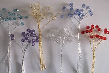 6 stems of 8mm triple crystal gems - choice of 6 colours - cakes favours flowers