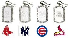 CHOOSE TEAM Necklace Dog Tag New Official MLB 40 Crystals 23in Chain Men orWomen