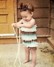 Baby Girls Blue Brown White Lace Petti Romper NB-3T RX87