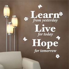 DecoMatters Learn Live Hope Butterflies Inspirational Vinyl Wall Quotes Stickers