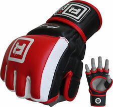 Auth RDX Leather MMA UFC Grappling Gloves Fight Boxing Punch Bag Cage Gear CA