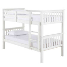 NEW 3FT SINGLE SOLID WHITE PINE CHILDRENS BUNK BED FRAME AND MATTRESS