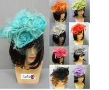 Cocktail Kentucky Church Derby Wedding Flower Headband Veil Sinamay Feather Hat