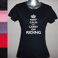 NEW KEEP CALM AND CARRY ON RIDING, LADIES T-SHIRT Sizes S M L XL XXL, GLITTER