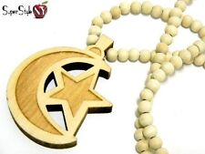 High Quality Muslim Crescent Moon Star Wood Wooden Beaded Necklace Hip Hop