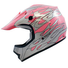 Youth Kids Pink Silver Flame Dirt Bike Motocross Off-Road ATV Helmet~S,M,L