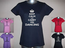 NEW KEEP CALM AND CARRY ON DANCING LADIES T-SHIRT, S M L XL XXL, PLAIN / GLITTER