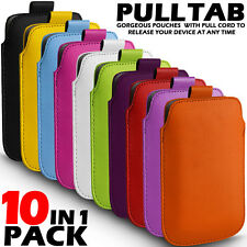 10 IN 1 PACK PULL TAB LEATHER POUCH SKIN CASE COVER FOR VARIOUS NOKIA MOBILES