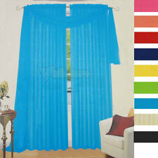 """Brand NEW Solid Color Sheer Voile Window Scarf 216"""" Length 11 Colors Available"""