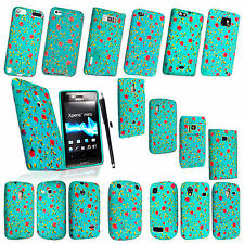 PINK FLOWER GREEN SILICON RUBBER SKIN CASE COVER FOR VARIOUS MOBILES+STYLUS
