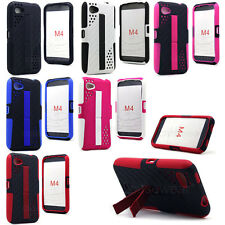 For HTC First AT&T Facebook Phone Dual Kickstand Impact 2pc Hard Case Gel Cover
